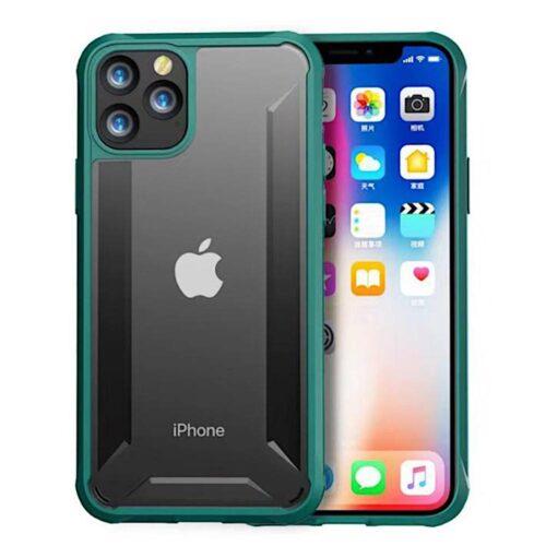 iPhone 11 Pro Max, Dual Hybrid Cian törésmentes zöld kerettel