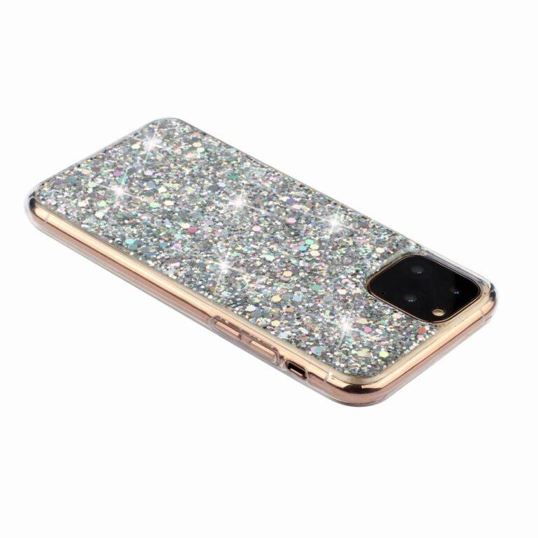 iPhone 11 Pro Max, Sparkle Silver csillogó ezüst hátlap védő